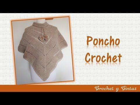 Poncho estilo V tejido a crochet (ganchillo) - YouTube