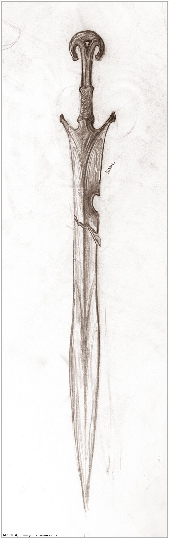 A design for Narsil inspired by more ancient models. This sketch was done about halfway through the design process