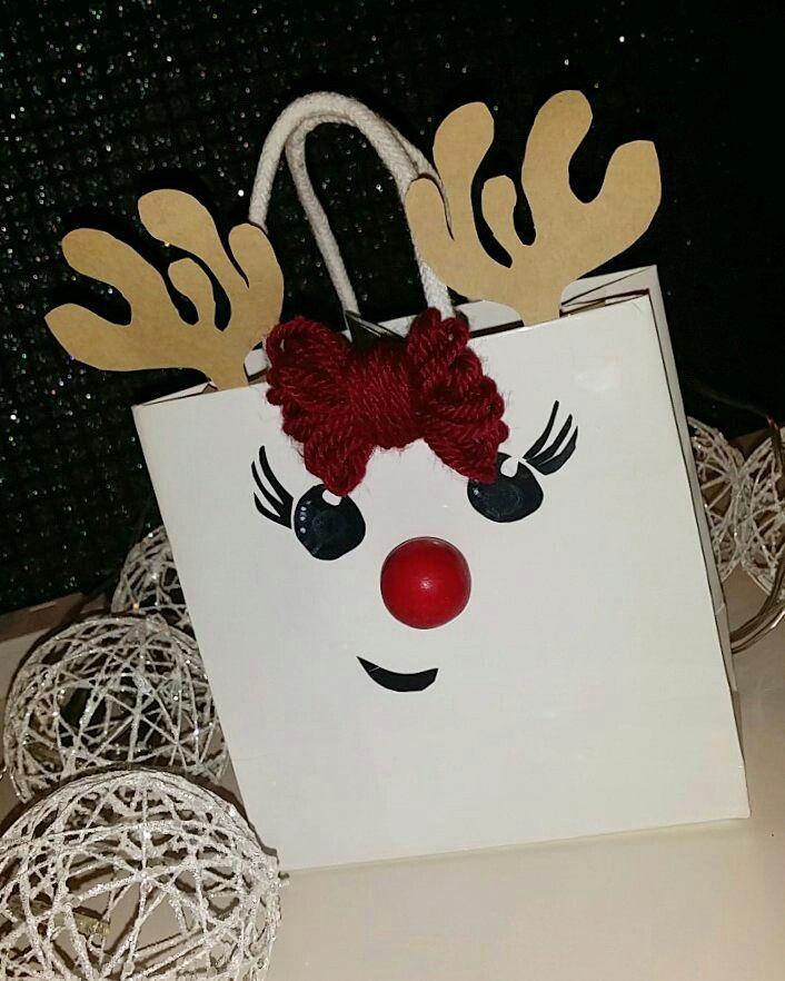 Easy christmas diy reindeer gift bag