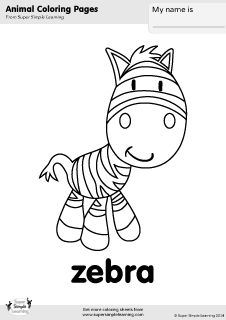 free zebra coloring page from super simple learning tons of free zoo animal worksheets and. Black Bedroom Furniture Sets. Home Design Ideas