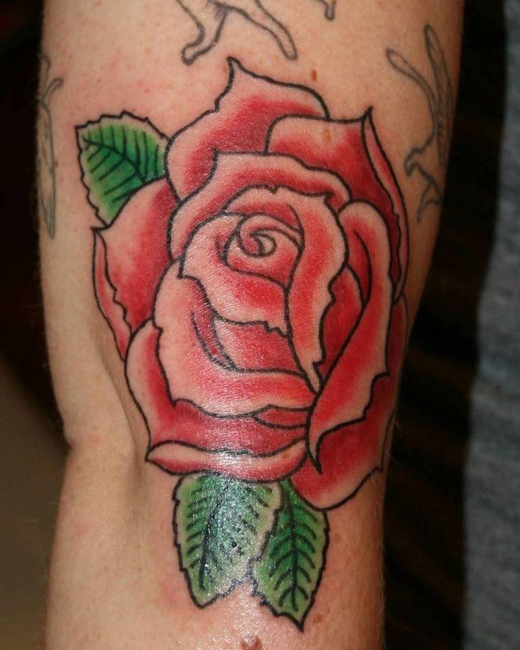 Latest Red Rose Band Tattoo On Bicep. TattoosHunter