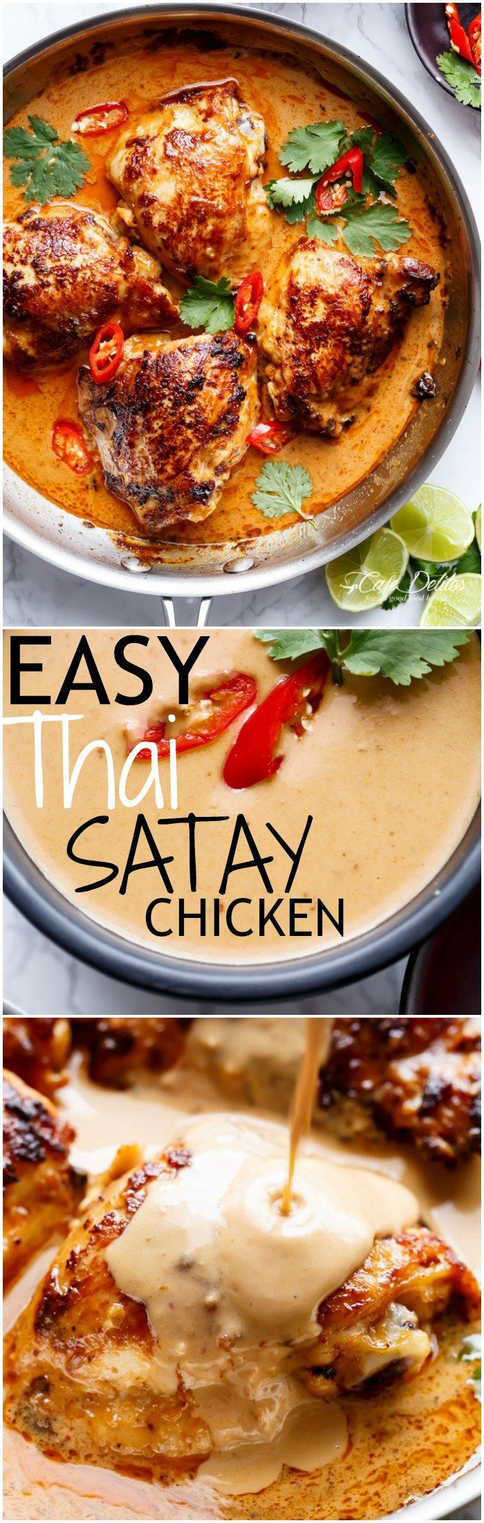 Thai Satay Chicken In A Creamy Peanut Sauce with a special ingredient that makes this satay something spectacular in minutes! | cafedelites.com