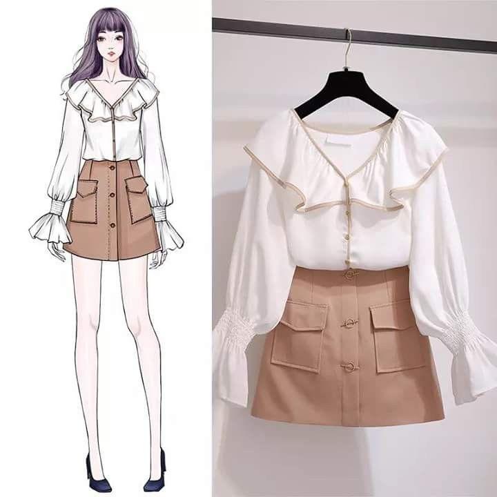amo a combinação de saia + blusa social; um look romântico com aquele jeito