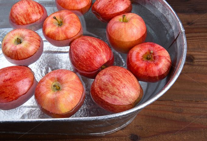 #Apple Bobbing Tub  A metal tub filled with water and apples for the Halloween custom of Apple Bobbing.