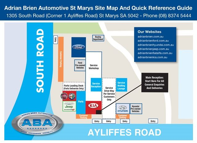 Based on some recent feedback, for your convenience we have put together this site map and quick reference guide of the Adrian Brien Automotive St Marys site.  The site map shows the main entry points, customer parking and main showrooms including Ford, Fiat Alfa Romeo, Chrysler Jeep Dodge, Kia and Hyundai.  http://adrianbriencars.com.au/blog/4088/adrian-brien-automotive-st-marys-site-map/