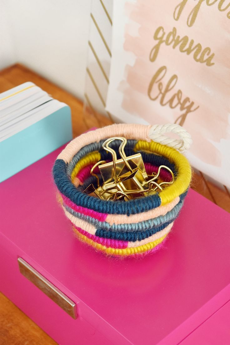 Diy mini yarn wrapped rope bowl yarn bowl crafts yarn tail