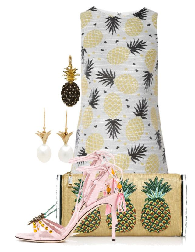 """""""PINEAPPLE"""" by amazing-crazy-love on Polyvore featuring Annette Ferdinandsen, Alice + Olivia, Edie Parker, Dolce&Gabbana and Annoushka"""