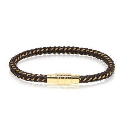 A.R.Z Steel Black and Gold Leather Bracelet