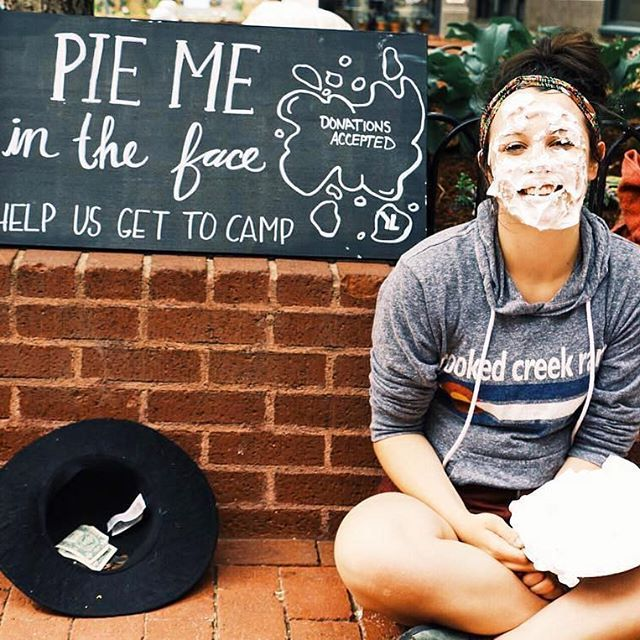 """2 cans of Barbasol shaving cream. 4 towels. 1 pie tin. 2 willing faces. 4 hours. 1 awesome way to fundraise for camp."" // Whatever it takes! 