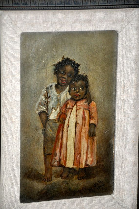 This is a very rare painting of two black children from the early 1900s    This painting is a very rare find.    The painting is very detailed and is in excellent conditition.    There were very few well preserved paintings made like this one in the 1900s.    approx. 10 1/2 X 14 3/8 **shipping included, signature required - NO PO BOXES - home or business address only!    Visit our jewelry gallery for more great finds!    www.Stardustbijoux.etsy.com