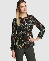 Blusa de mujer Elogy en negro con estampado de flores
