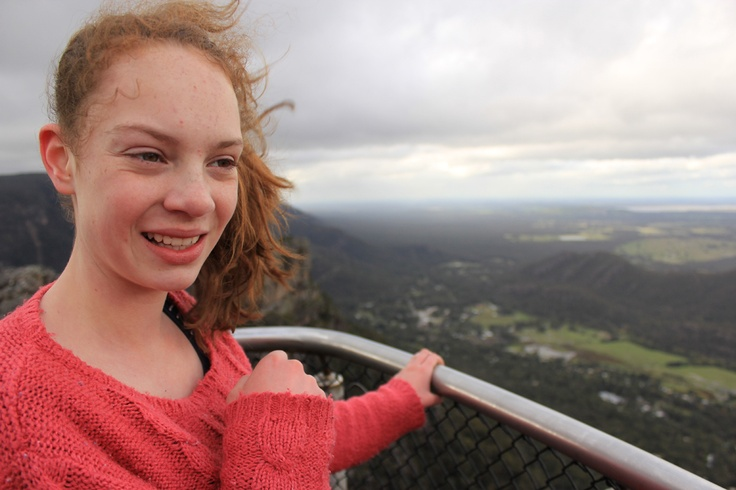 Madison at the Pinnacle, Grampians. Halls Gap in Background (very windy)!