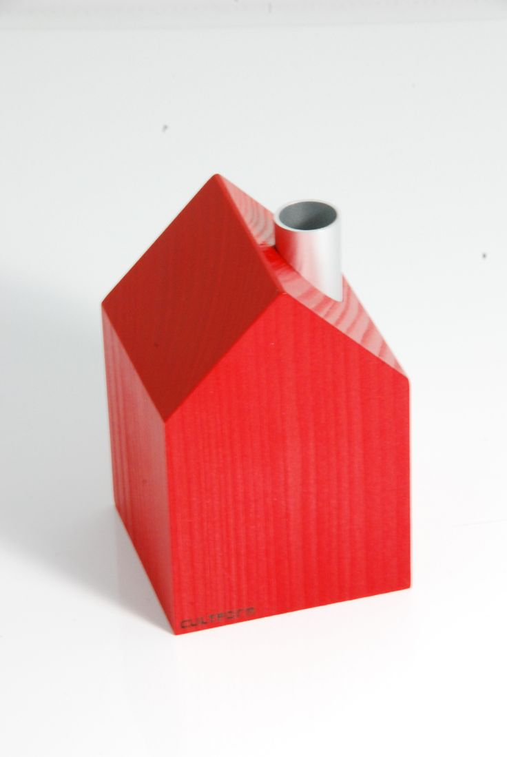 Red wooden house for candles. Christmas. Made in Germany. http://www.cultform.de