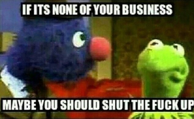Kermit Memes- too funny. ( Finally!! Thank you Grover! You are a true Superhero to me. This was getting boring. Dammit...! None of his business, yet gossiping shit like an old crotchety hag. It's funny at first. But then it just gets annoying. Shit! )