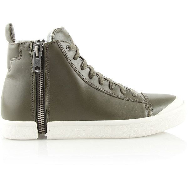 DIESEL  Ss 2016 (14.795 RUB) ❤ liked on Polyvore featuring shoes, sneakers, casual shoes, footwear, man, olive green, zip sneakers, high top trainers, diesel sneakers and diesel trainers
