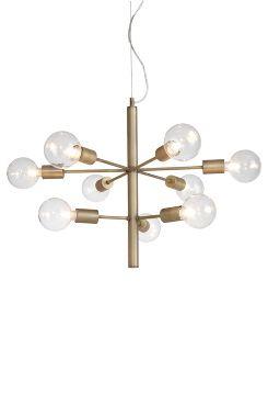 Ellos Home Taklampa Galaxy En spektakulär taklampa med 9 armar i olika nivåer och 9 lampor. Av oxiderad/antik mässing. Dimbar. Transparent kabel med vajer för justering av höjd. Ø 55 cm. Höjd 50 cm. Stor sockel 9xE27. Max 60W. Takkontakt. Lampor och glaskupor medföljer ej. Lampa E110 rekommenderas, men testa gärna med olika ljuskällor och prova dig fram till ditt eget uttryck! <br><br>