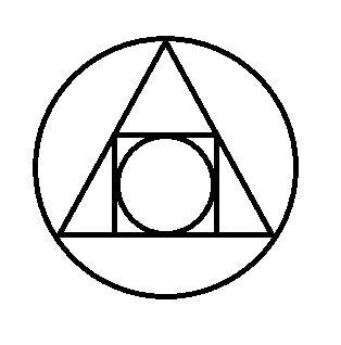 """The Squared Circle: an Alchemical Symbol illustrating the interplay of the four elements of matter symbolizing the philosopher's stone; the result of the """"Great Work"""""""
