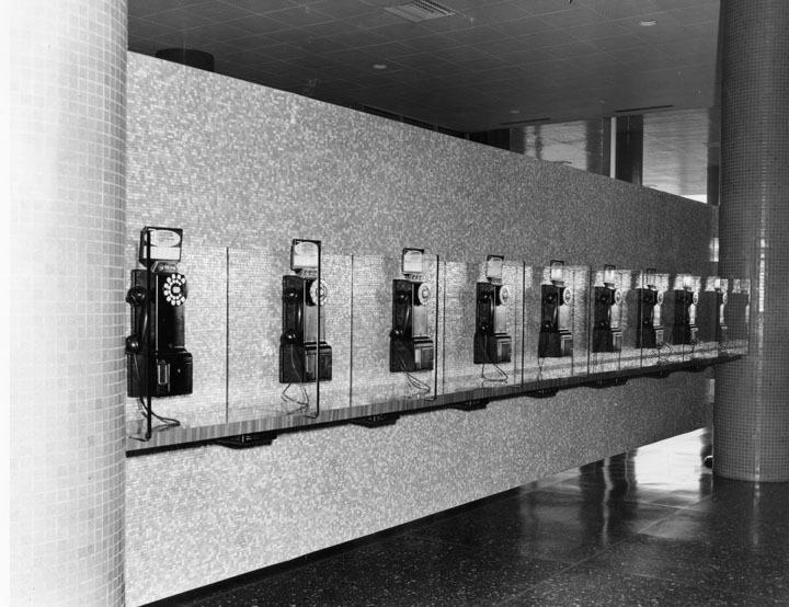 Lobby telephone bank, 1955, LAPL