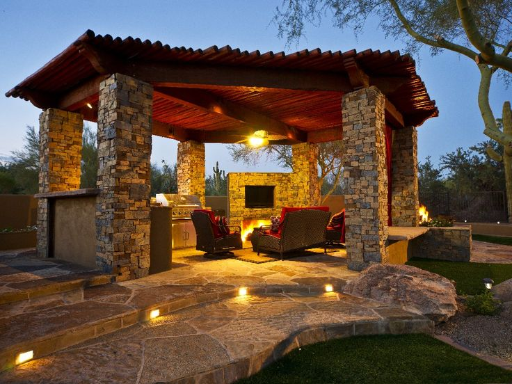 Outdoor Grill Fireplace Stone Wood Garden Inspiration