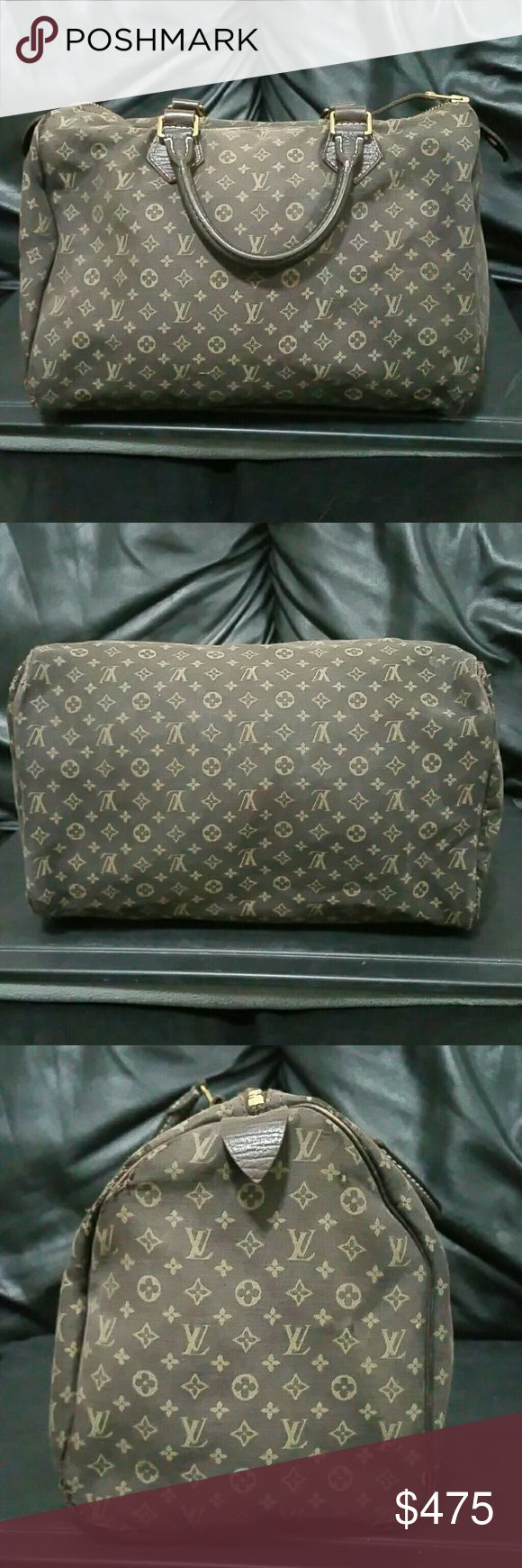 Louis Vuitton Mini Lin Speedy 30 In heavily used condition with LOTS of life left. Corners were frayed and I took them in and sewed them up. Interior has glitter markings/stain. No smells or rips or holes.   Selective trades only (Gold Jewelry, Diamonds other high end luxury purses) Partials are highly recommended (cash + shoes/clothing/other purses) No trade values accepted (listing prices only) No trade feedback...YOU ship first. Louis Vuitton Bags Satchels