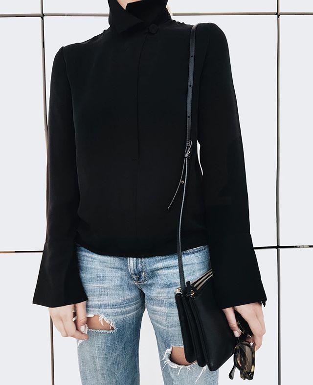 High collar shirt and ripped denim  #aritzia #currentelliott #céline