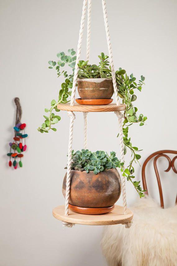 Floating shelf / vertical hang planter/ round wood shelf / hanging shelf / suspending shelf / indoo
