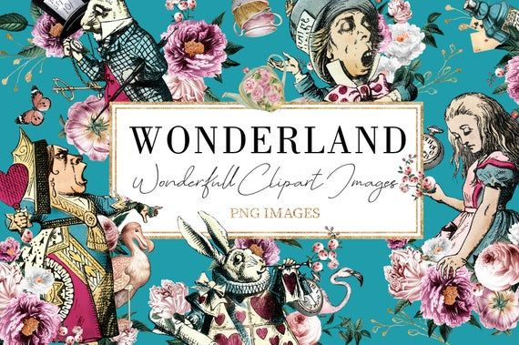 Alice In Wonderland Digital Kit Wonderland Clipart Tea Party Etsy Alice In Wonderland Graphic Illustration Tea Party Invitations