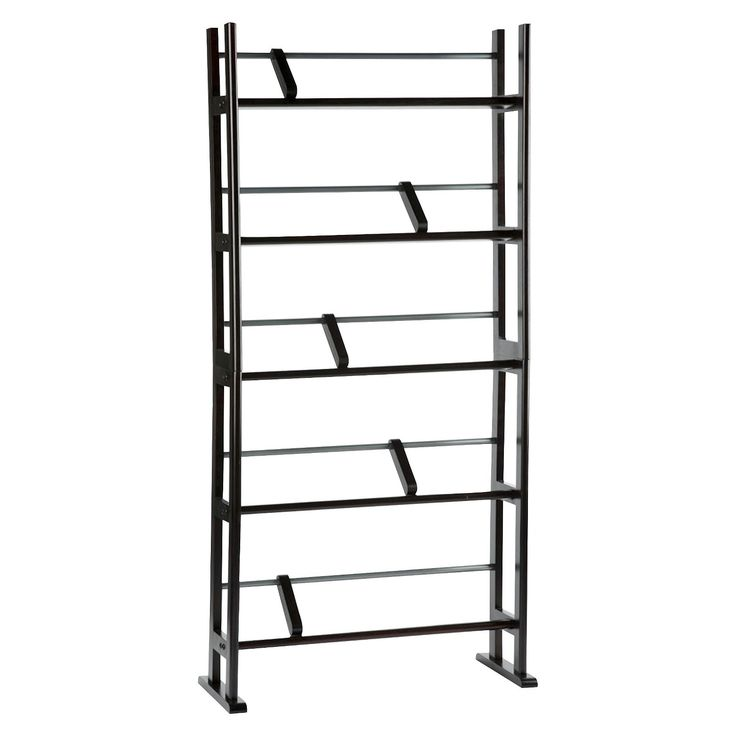 Organize all your entertainment media from music to movies. Inclined angles provide easy viewing, while sliding dividers keep media on each shelf together. Easy to assemble, the  Element media rack has a sturdy H-frame design and feet for added stability. Stores 185 Blu-rays, 150 DVDs or 230 CDs.