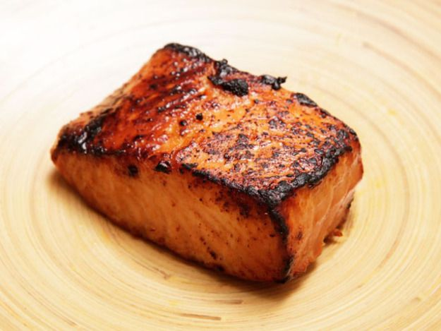 Five Minute Miso-Glazed Toaster Oven Salmon -- 1/4 cup red or white miso 1/3 cup sake 1 tablespoon soy sauce 2 tablespoons vegetable oil 1/4 cup sugar