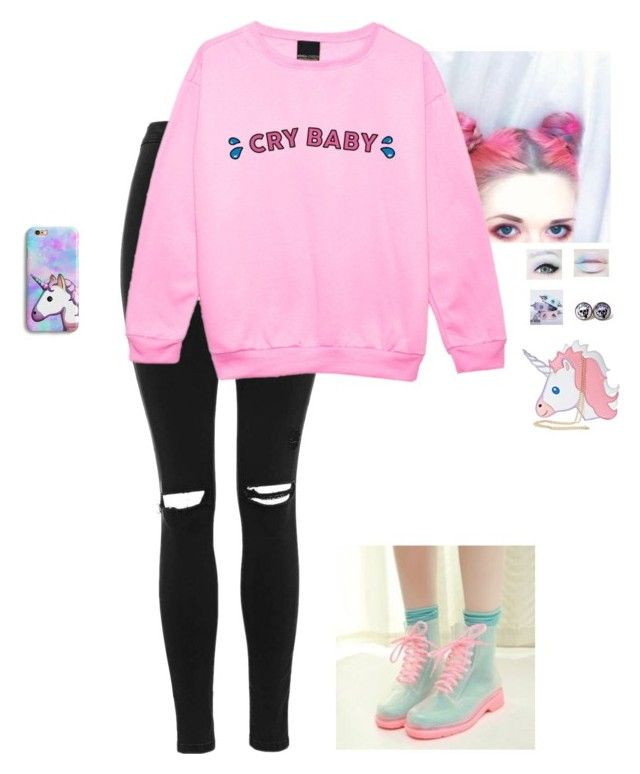"""Pastel Goth"" by hanakdudley ❤ liked on Polyvore featuring Topshop and Nila Anthony"