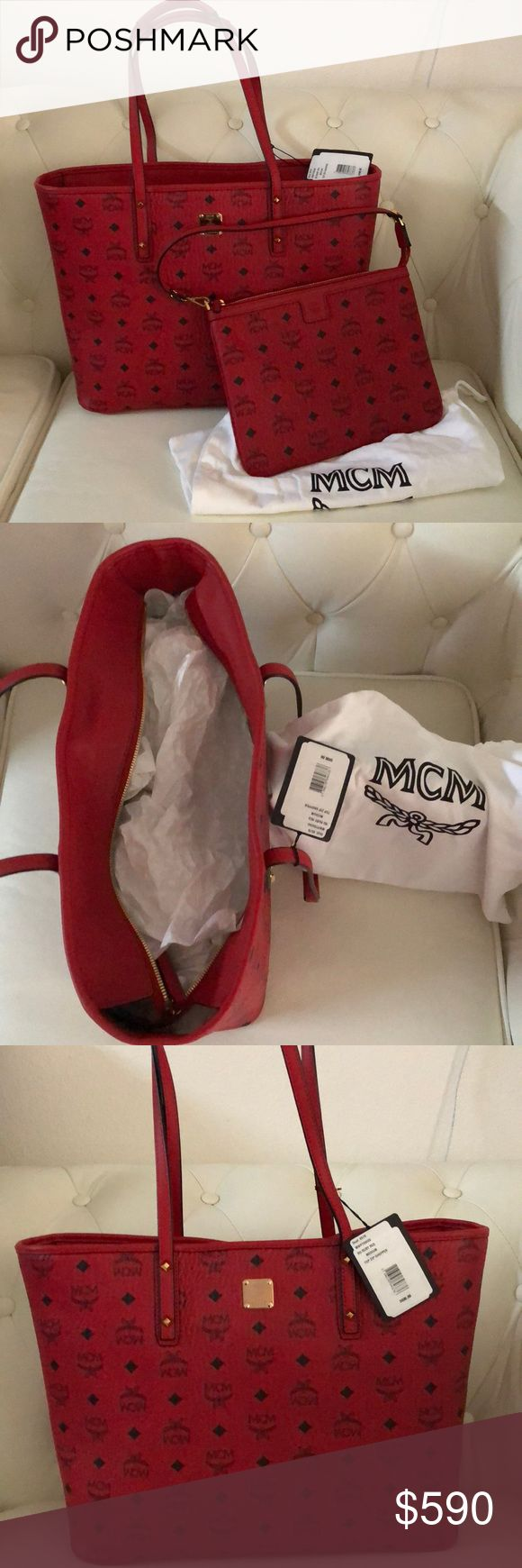 MCM Anya Medium Tote, Ruby Red Brand New from Saks! Jan2018. Never carried! Comes with all care/authenticity cards, the zippered pouch & two dust bags—including one that fits the pouch perfectly! Pouch can be sold separately for $250 firm. Please submit suitable offers using the offer button! No trades, sell only! Enjoy!! MCM Bags Totes