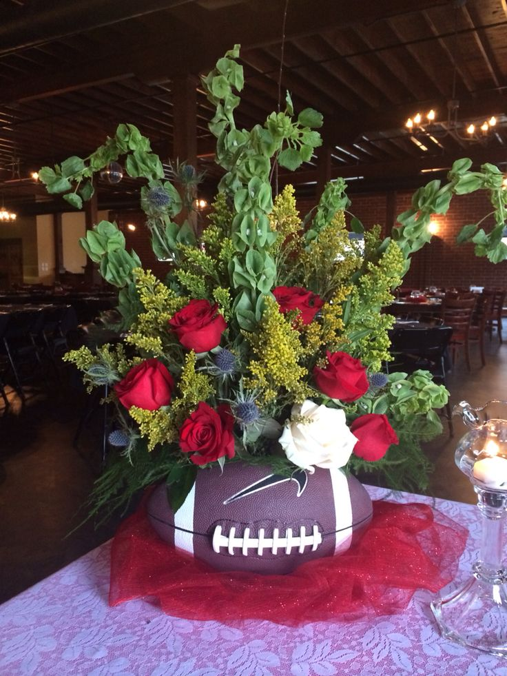 63 best football images on pinterest football banquet soccer football vase filled with flowers take a football and cut an oval out of the junglespirit