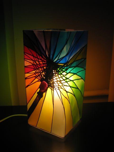 """Meselámpa """"Szivárvány esernyő"""" -  www.asterglass.hu Burján Eszter 'Aster' üvegfestő művész"""