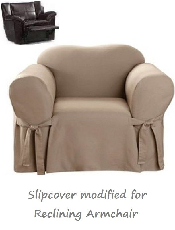 Reclining Chair Slipcover Cotton Taupe Sure Fit Armchair Slip