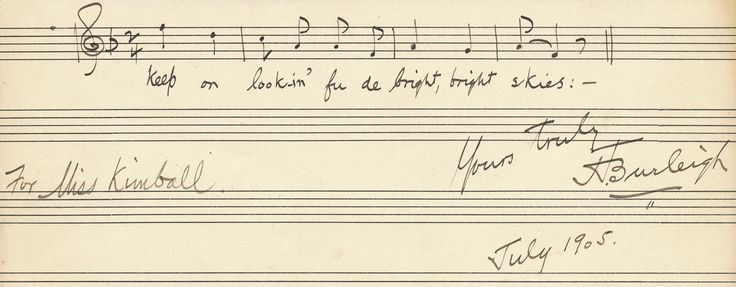 "Henry ""Harry"" Thacker Burleigh Autograph Musical Quotation Signed"