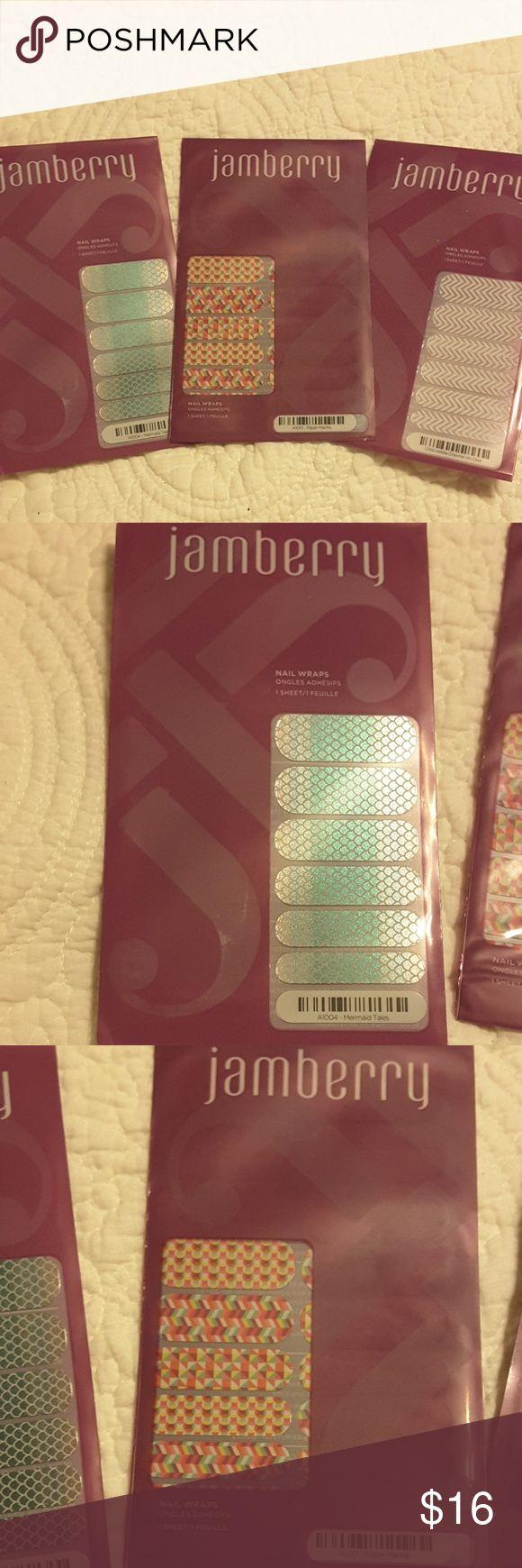 Jamberry nail wraps, 3 packs Jamberry nail wraps Mermaid Tales, Paper Mache, White Chevron on Clear. Jamberry Makeup