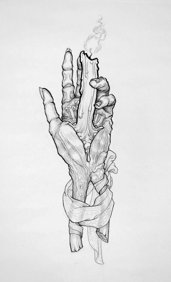 """Original Ink Drawing """"Hand of Glory"""" by Kat Mannel. For Sale via Etsy."""