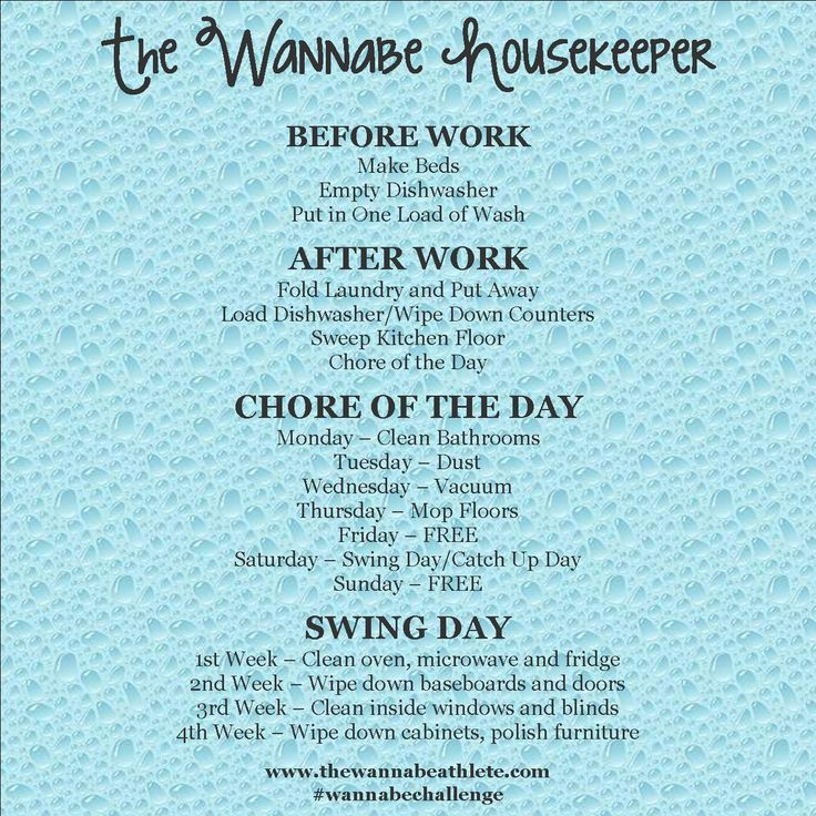 Working moms cleaning schedule.