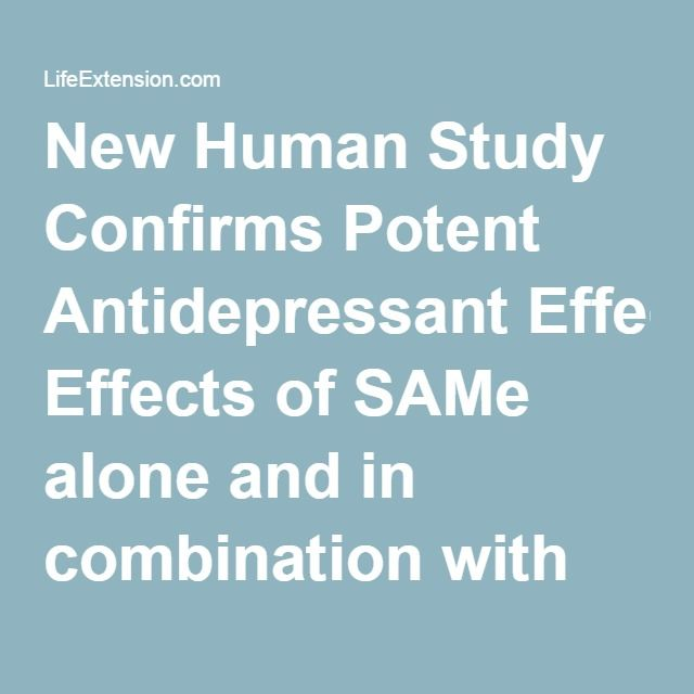 New Human Study Confirms Potent Antidepressant Effects of SAMe alone and in combination with prescription antidepressants for treatment-resistant depression