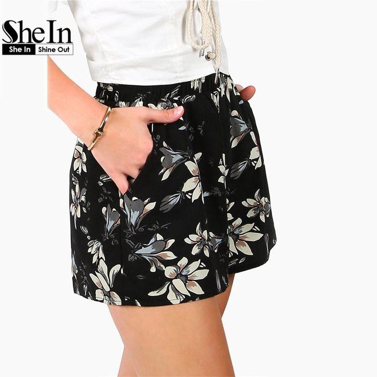 Shein женские шорты повседневные mid талии чешского шорты лето эластичный пояс женщин черный цветок печати широкую ногу шорты