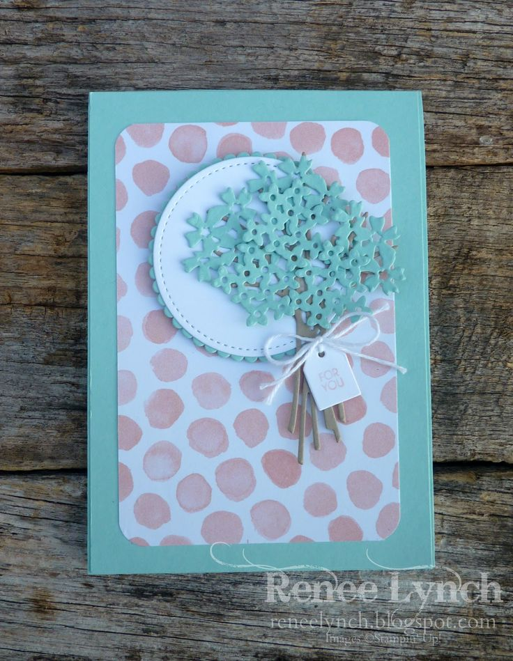 Renee Lynch - stampin up - powder pink - pool party - Beautiful Bouquet - whole lot of lovely dsp - birthday card -handmade card.