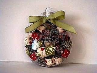 Rolled paper in clear glass ornament