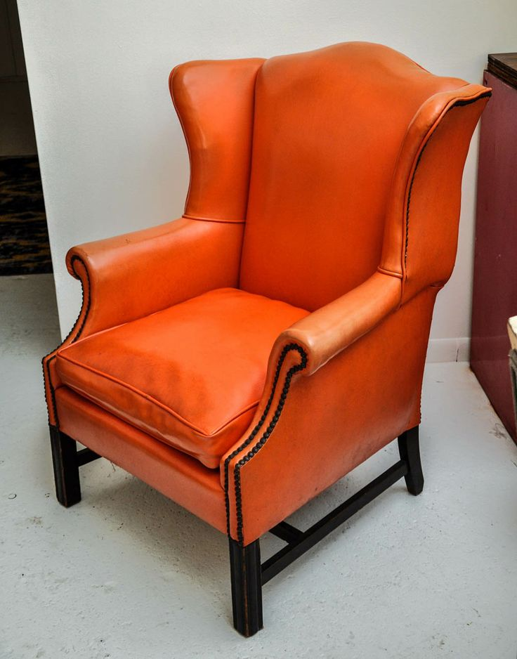 Vintage Orange Leather Wing Chair Image 2 Leather Wing
