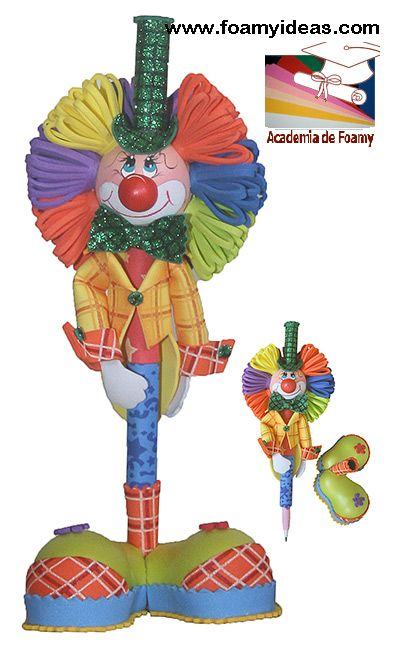 "Pencil clown (""fofucho""). Made from foamy EVA. Fofulápiz, o fofucho lápiz payaso. Hecho de foamy (goma EVA). Videotutorial: http://www.foamyideas.com/cursos foamyideas@gmail.com"
