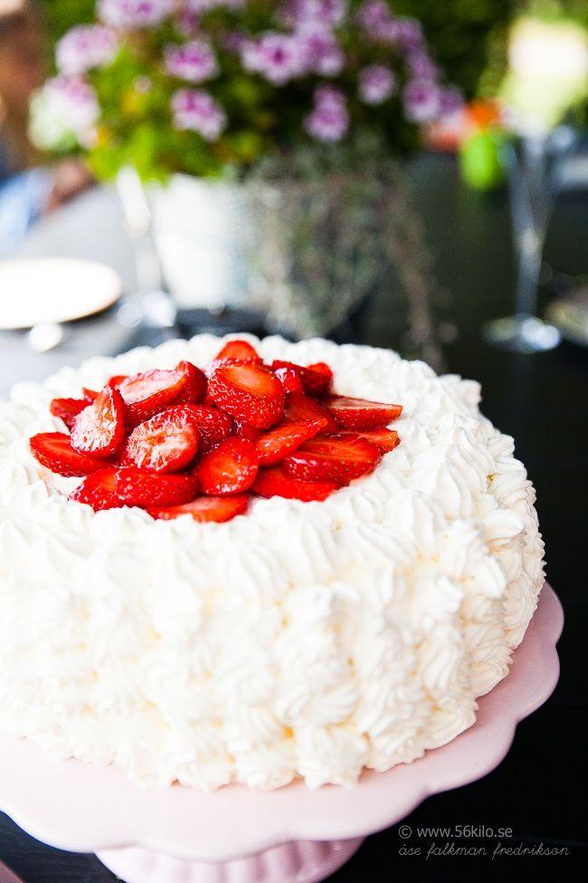 Jordgubbstårta, Gräddtårta (Lchf, Low carb, Glutenfri) Strawberry Cake Low Carb, Glutenfree
