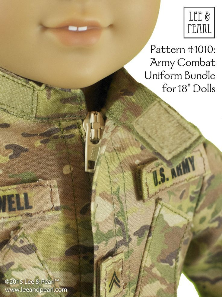 Our custom boy American Girl doll is wearing a replica US Army uniform made using Lee & Pearl Pattern 1010: Army Combat Uniform Pattern for 18 Inch Dolls, which includes the uniform jacket, T-shirt, cargo pants and helmet cover, as well as directions to make your own detachable name, rank and branch tags. Find this pattern in our Etsy store at https://www.etsy.com/listing/172330824/lp-pattern-1010-army-combat-uniform