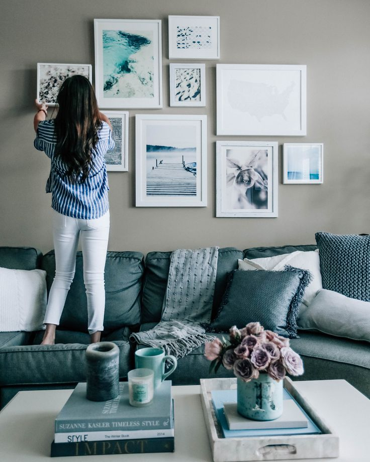blue grey living room decor pretty in the pines lifestyle blog gallery wall