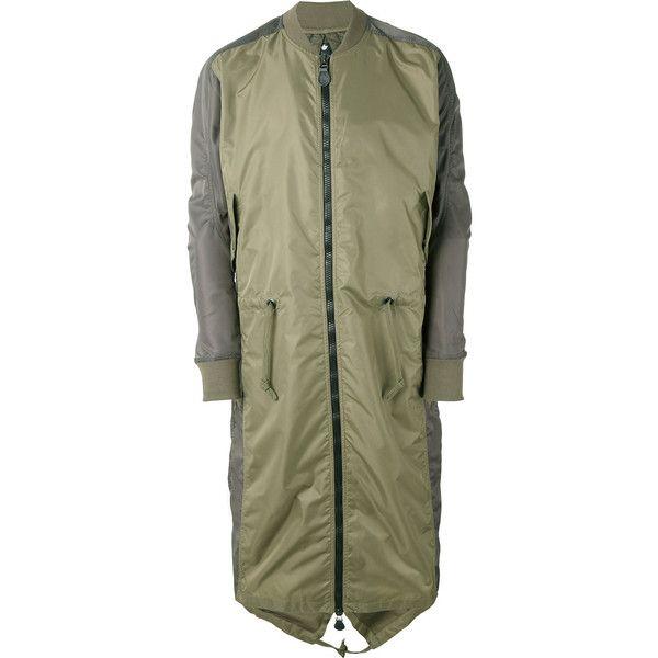 Maharishi Ergonomic Fishtail bomber coat (€355) ❤ liked on Polyvore featuring men's fashion, men's clothing, men's outerwear, men's coats, green, mens green sport coat, mens fishtail parka coats and mens bomber coats
