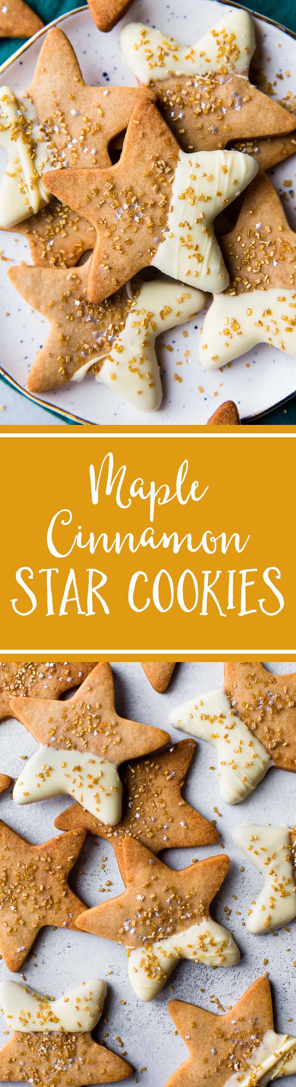 Flavorful maple cinnamon star cookies using a basic and easy sugar cookie dough! Recipe on sallysbakingaddiction.com