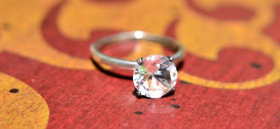 Ice Crystal Solitaire Ring Diamond by AbishJewelryWorks on Etsy, $129.87